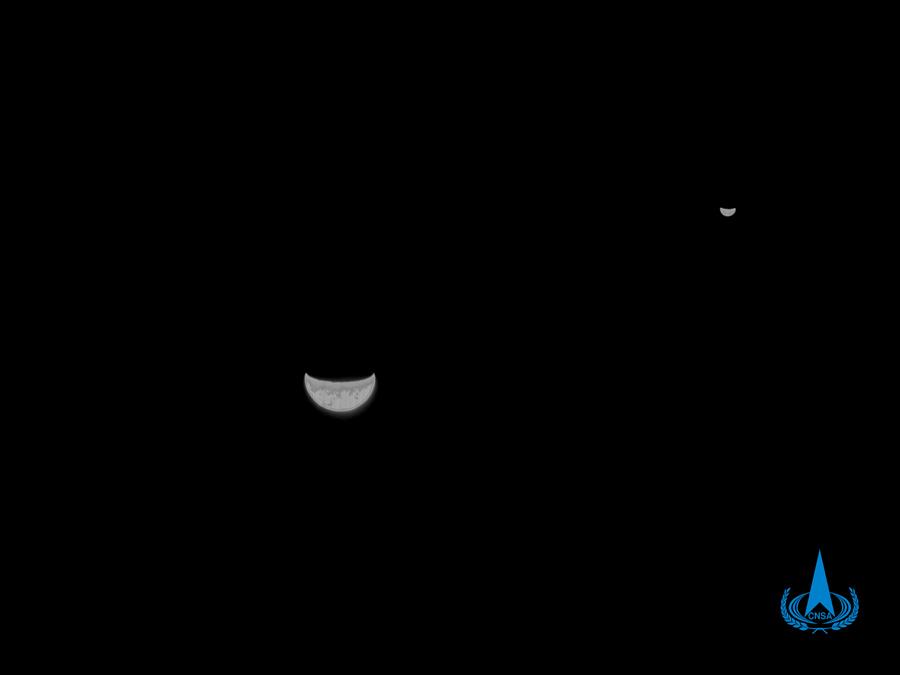 我国首次火星探测任务天问一号探测器传回地月合影